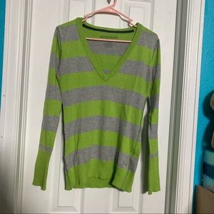 Grey and Green Striped V Neck Sweater